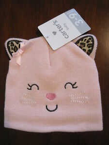 New NWT Carters Girls Kitty Cat Pink Lined Sweater Knit Hat Size 0-3 months