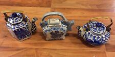 Three Lovely Oriental Blue & White Teapots