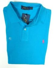 NEW POLO RALPH LAUREN CLASSICS BLUE W/ PINK PONY CASUAL MESH POLO SHIRT SIZE L