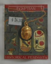 The Gold Egyptian Scarab Beetle Pendant Necklace Jewelry Egyptian - Collectible