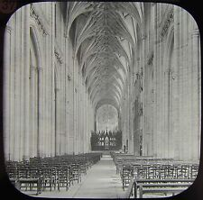 Glass Magic Lantern Slide WINCHESTER CATHEDRAL NAVE NO3 C1890 PHOTO ENGLAND UK