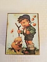 Hummel print Shepard Boy with Lamb Vintage Wooden Music Box tested working
