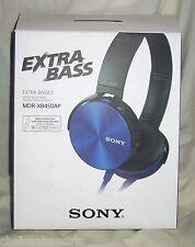 Sony MDR-XB450AP Extra Base Stereo Headphones-BLUE-On Ear Built In Mic Apple
