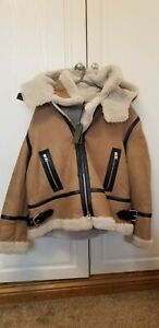 ALLSAINTS LILLIE HOODED SHEARLING JACKET,100% LAMB LEATHER & SHEEP SKIN, ##(T1)