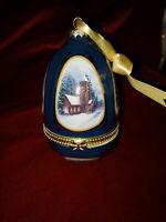 Mr Christmas Musical Porcelain Blue & Gold Egg Shaped Ring Box Ornamant, EUC