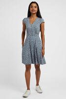 Louche Womens Emin Flax Floral Tiered Midi Dress Blue
