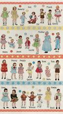 Moda Fabric HOP SKIP AND A JUMP Retro Alphabet Kids/Paper Dolls- panels
