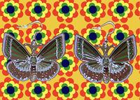 A235✪ 70er 80er Jahre Hippie Ohrringe Boho Festival Schmetterlinge grün / braun