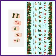 Christmas Nail Art Water Decals Transfers Stickers Bows Holly Candy Cane (YE448)