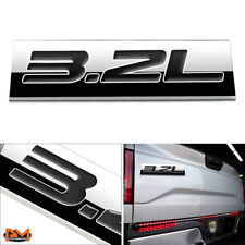 """3.2L"" Polished Metal 3D Decal Black Emblem Exterior Sticker For Ford/Jeep/Volvo"