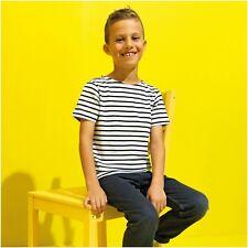 Kids Childrens Stripe Breton Top Short Sleeve T-Shirt Tee Sailor French Top Navy