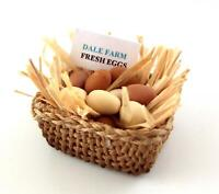 Dolls House Eggs in Straw in Basket Farm Shop Miniature Hand Made Accessory