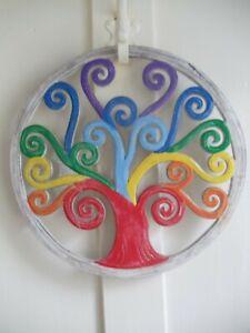 Tree of Life Wall Plaque Fair Trade Wood Chakra Rainbow Colours Boho Decor Gift