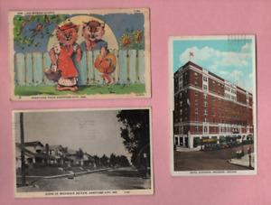 3 POSTCARDS OF INDIANA 1937 HARTFORD CITY,1935 HARTFORD CITY & 1937 ANDERSON