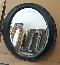 "Large Black Solid Wood ""40x40"" Oval Beveled Framed Wall Mirror"