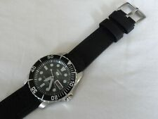 Black Leather Watch Strap for Seiko Mens Diver Watch SNZF SKX Quick release 22mm