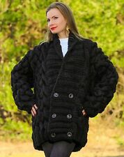 SUPERTANYA Hand Knitted Mohair Wool Sweater BLACK Extra Thick Handmade Cardigan