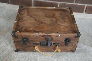 Antique / Vintage Wood Suitcase Carry Case With Metal Hardware Storage Repurpose