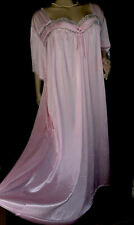 """3X 4X Bust 60"""" Long Silky Shimmer Lace Pink Nylon NightGown Babydoll Lingerie"""