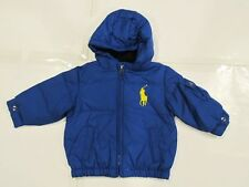 New tag NWT Ralph Lauren Boys Blue Polo Down Hooded Winter Jacket 18M Big Pony