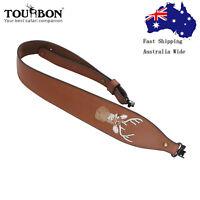 Tourbon Real Leather Rifle Sling Soft Padded Gun Strap 2 Point QD Swivels Set