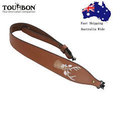 Tourbon Real Leather Rifle Sling Soft Padded Gun Strap 2 Point QD Swivels Set AU