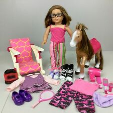 American Girl TRULY ME DOLL + Clothes Horse Lot Brown Hair Eyes Pierced Ears 18""