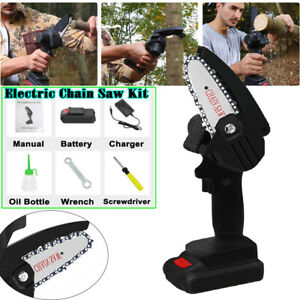 """4"""" Electric Hand Saw Woodworking Chain Saw Cordless Wood Branch Cutter + Battery"""