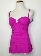 Calvin Klein Women's Bar Bandeau Swim Dress Pink Purple One-Piece Swimsuit Sz 6