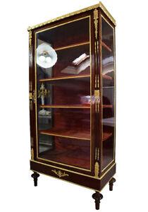 VITRINE meuble Empire clock bronze horloge cartel pendule acajou table