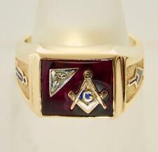 VINTAGE HEAVY 10K YELLOW GOLD DIAMOND RED STONE MASONIC COMPASS RING 9.5