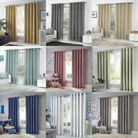 Eyelet Curtains Plain 100% Cotton Ready Made Ring Top Lined Curtain Pairs