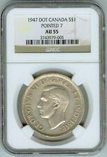 "Very Scarce NGC AU55 1947 DOT, Pointed 7 Doubled ""HP"" Canadian Dollar"