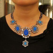 Collare Da Donna Pendente Blu Ovale Vintage Stile Originale Matrimonio Regalo ZR