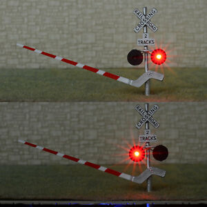 2 x HO scale railroad crossing signal arm gate stop lever flasher 2 tracks #S2