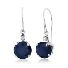 2.03 Ct Round Blue Sapphire 14K White Gold Earrings