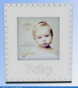 """Cream Enamel/Silver Plate  Baby 3"""" x 3"""" Photo Frame with Clear Crystals LP14877"""
