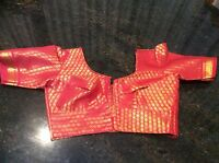 "30"" XXS Saree Blouse Red Bollywood Indian Sari Top Designer Ladies Wear Cotton"