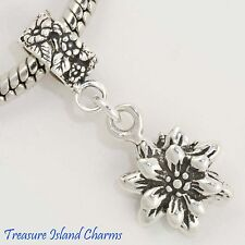 EDELWEISS FLOWER .925 Solid Sterling Silver EUROPEAN EURO Dangle Bead Charm
