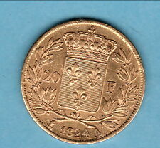 RARE SUP  20 FRANCS OR LOUIS XVIII 1824 A  cadeau a offrir ou s offrir