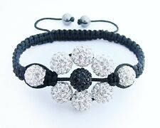 Shamballa flower crystal disco ball bracelet BLACK WHITE beads  macrame