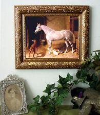 Herring Arabian Horse Gray n Stable Print Antique Style Framed 11X13