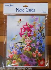 8 Leanin Tree Note Cards Hummingbirds w/ Colorful Flowers Susan Bourdet Made USA