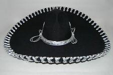 "Mexican Sombrero - Black with Silver Charro 18.5"" Brand New Hat True Adult"
