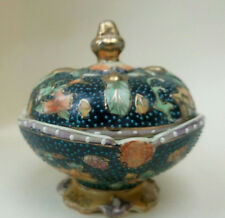Vintage Old Chinese Lidded Bowl Oriental Asian Signed Stamped
