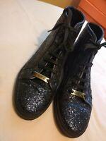 GUCCI California Blue Glitter High-Top Sneakers women's 37.5