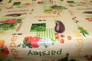 PVC Eggplant Mint  Vegetables Oilcloth Vinyl Tablecloth Wipe Easy 140CM Wide