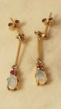 ❤️ Exquisite Fine Antique 9 Ct Yellow Gold Fiery Oval Opal & Ruby Earrings ❤️