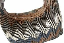 HOBO BAG Weave Designer Style Faux Leather Hobo Bag in Multi Brown, Brand New