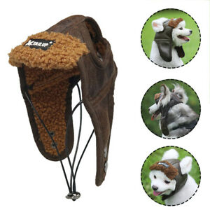 Dog Puppy Aviator Hat PU Leather Velvet Pets Pilot Helmet Windproof Warm Cap